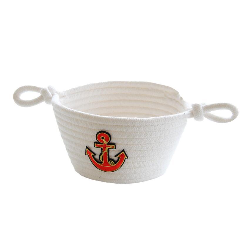 Navy Thread Weaving Storage Basket Best Children's Lighting & Home Decor Online Store