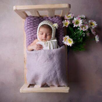 Wool Felted Round Baby Blanket For Newborn