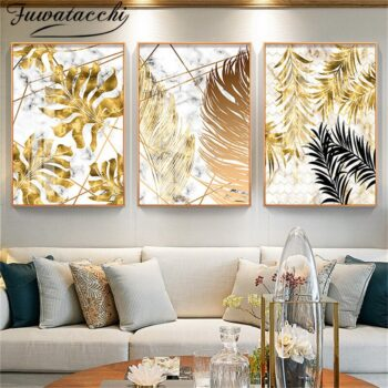 Nordic Style Golden Leaves Canvas Painting Posters Best Children's Lighting & Home Decor Online Store